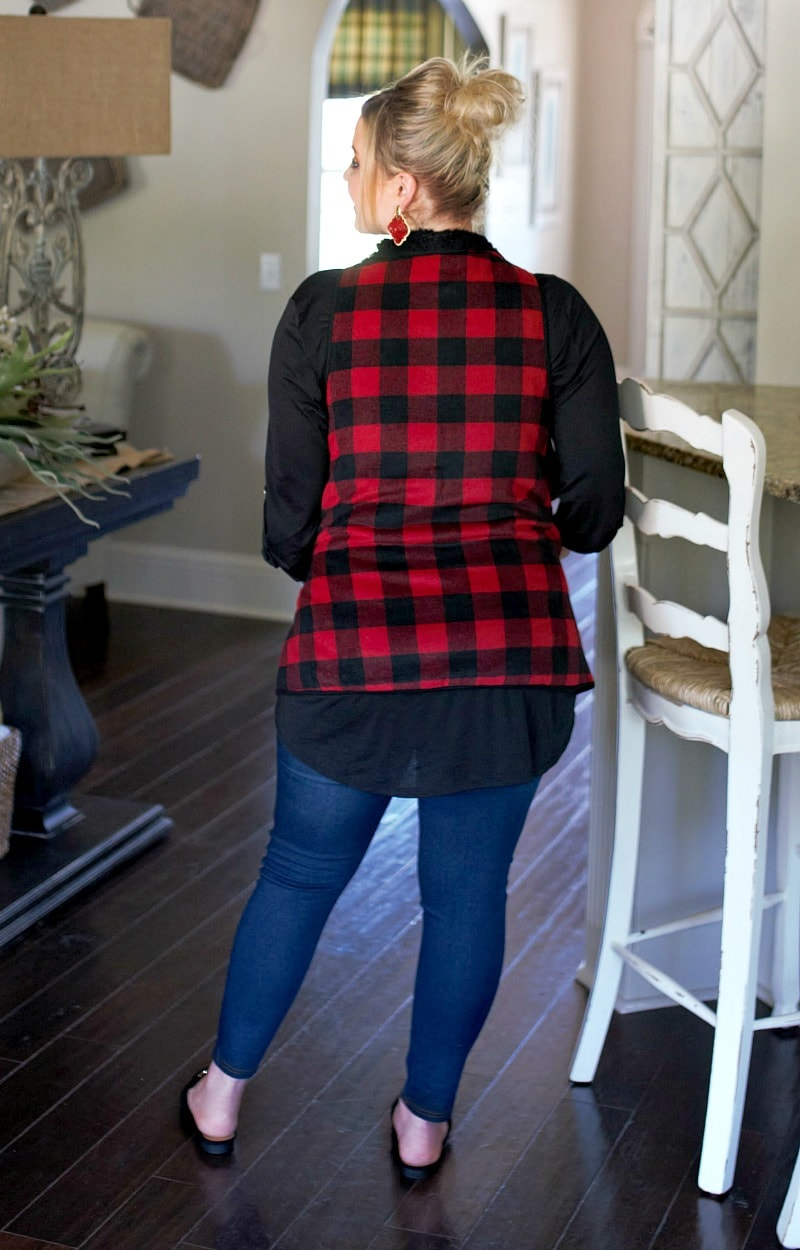 Everyday Occasion Buffalo Plaid Vest - Black/Red