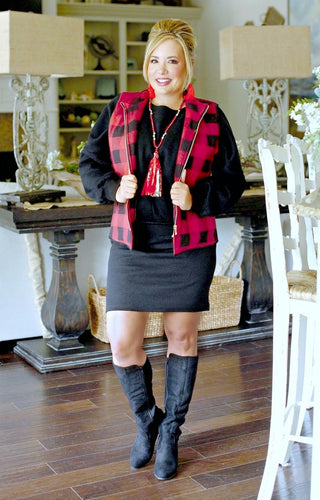 Nothing Better Buffalo Plaid Vest - Red/Black