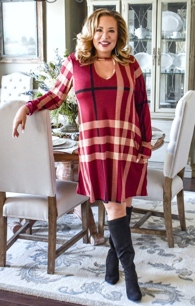 Load image into Gallery viewer, I Won't Mind Plaid Dress - Burgundy