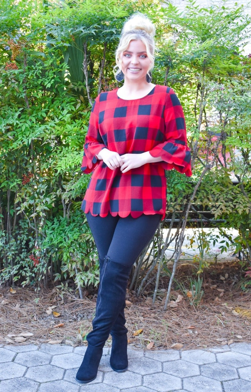 Block You Out Plaid Top - Red/Black