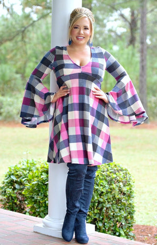 From A Distance Plaid Dress - Navy/Pink