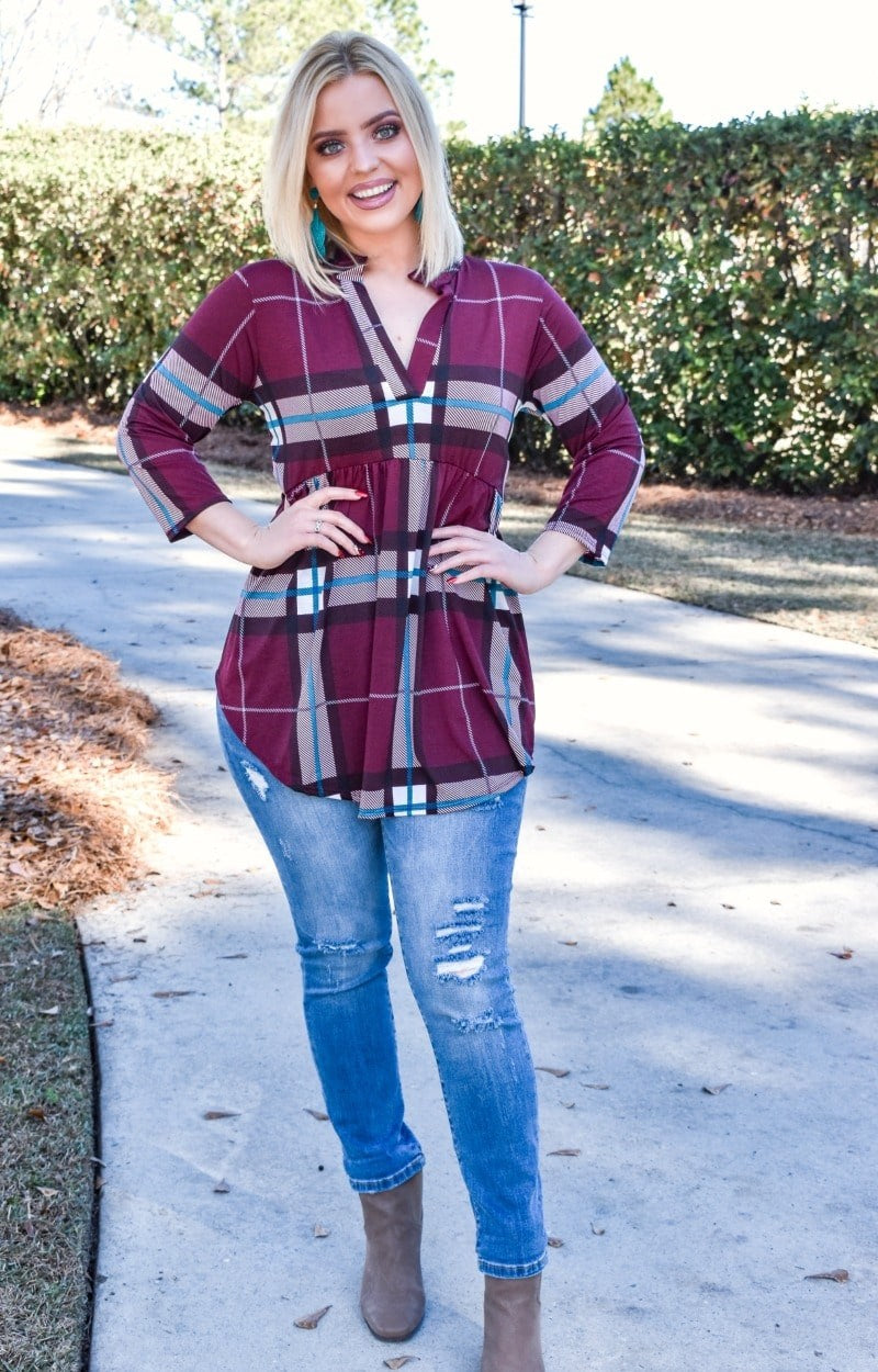 The Little Things Plaid Top - Burgundy