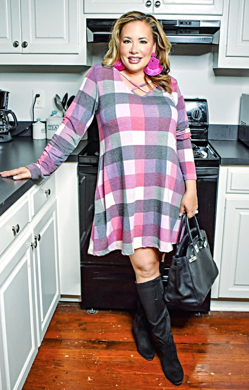 Acting Out Plaid Dress - Fuchsia/Multi
