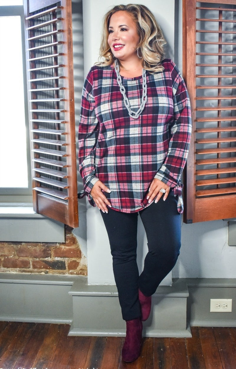All Tied Up Plaid Top - Burgundy