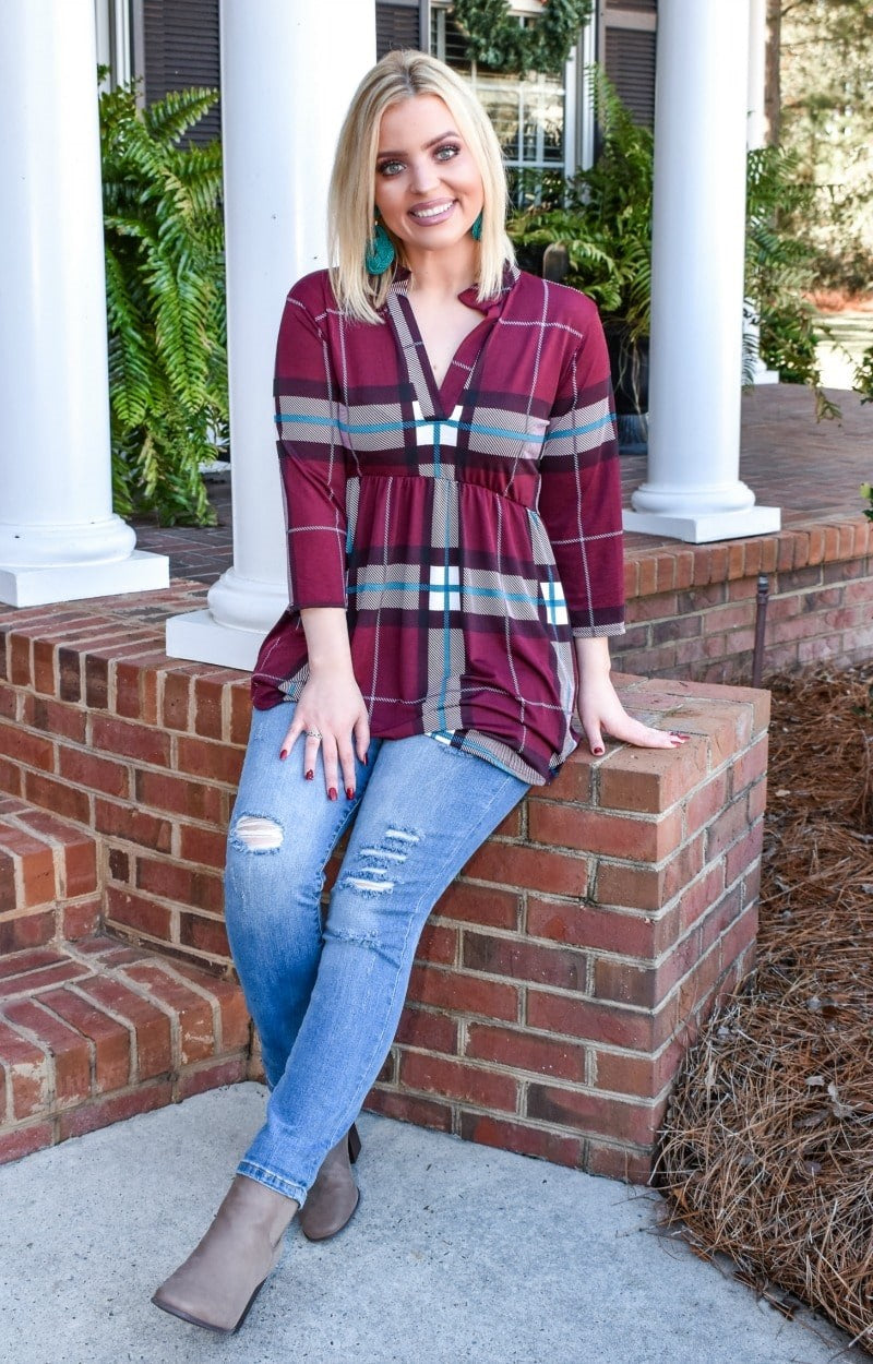 Load image into Gallery viewer, The Little Things Plaid Top - Burgundy