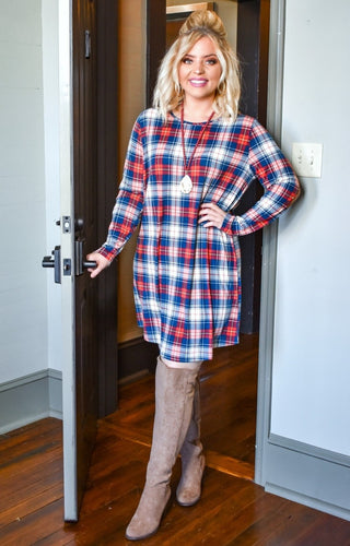 Got The Look Plaid Dress - Navy/Rust