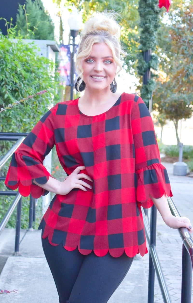Load image into Gallery viewer, Block You Out Plaid Top - Red/Black