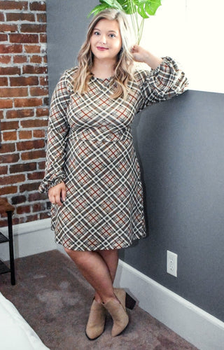 Modern Romance Plaid Dress - Taupe