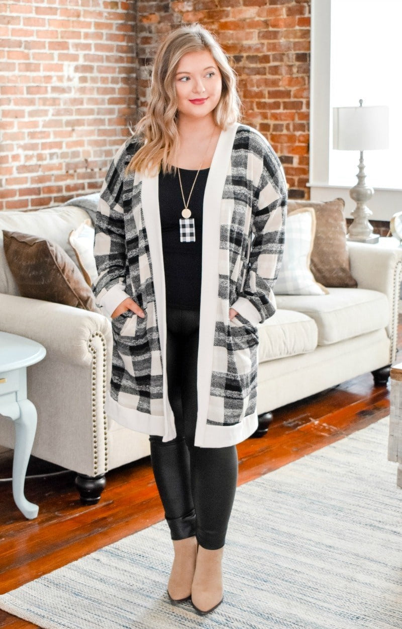 Embrace The Moment Plaid Cardigan - Ivory/Black