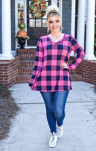 Back For Now Plaid Top - Fuchsia/Navy