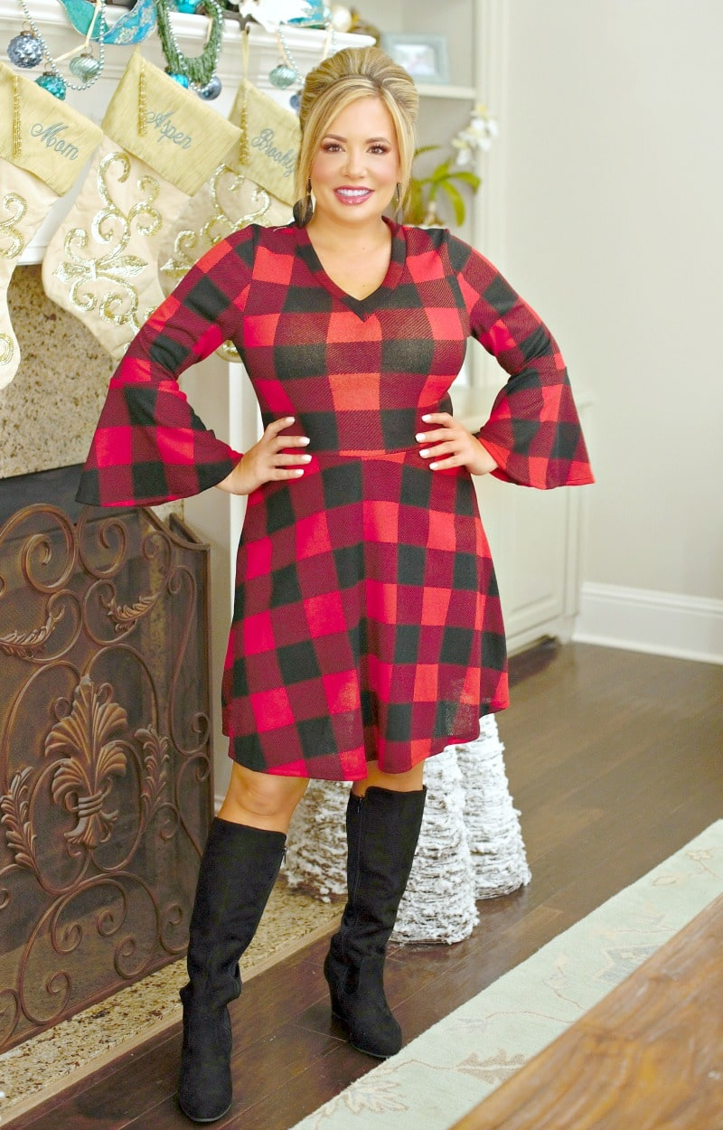 Load image into Gallery viewer, You're My Type Buffalo Plaid Dress - Red/Black