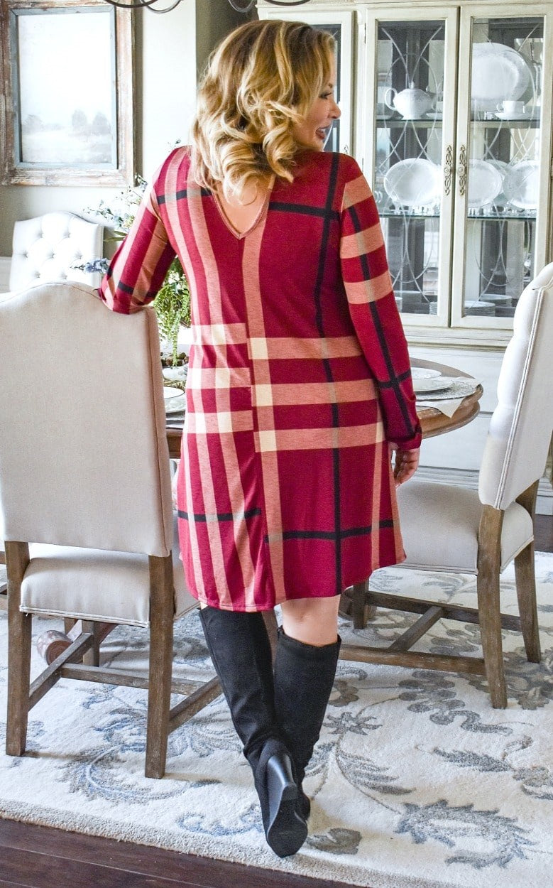 I Won't Mind Plaid Dress - Burgundy