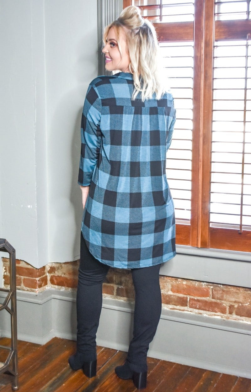 Take The Leap Plaid Top - Teal/Black