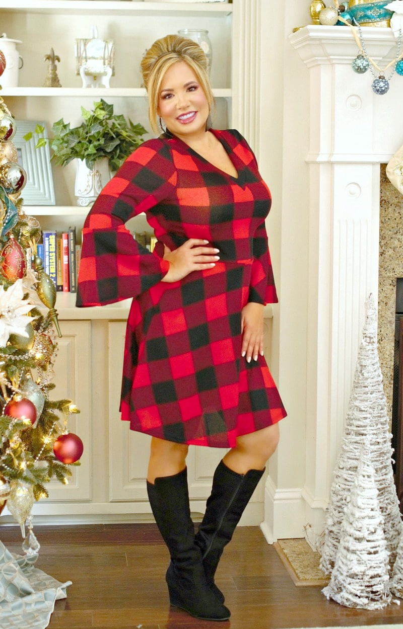You're My Type Buffalo Plaid Dress - Red/Black