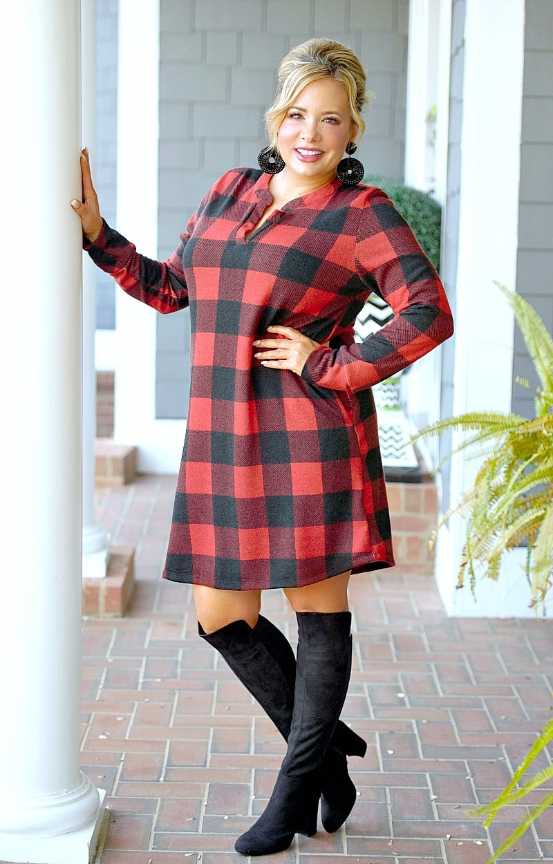 Load image into Gallery viewer, Moving On Buffalo Plaid Dress - Red/Black