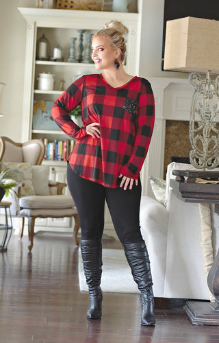 Always A Flirt Buffalo Plaid Top - Red/Black