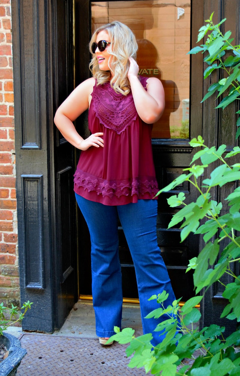 Load image into Gallery viewer, Step Right Up Lace Tank - Burgundy