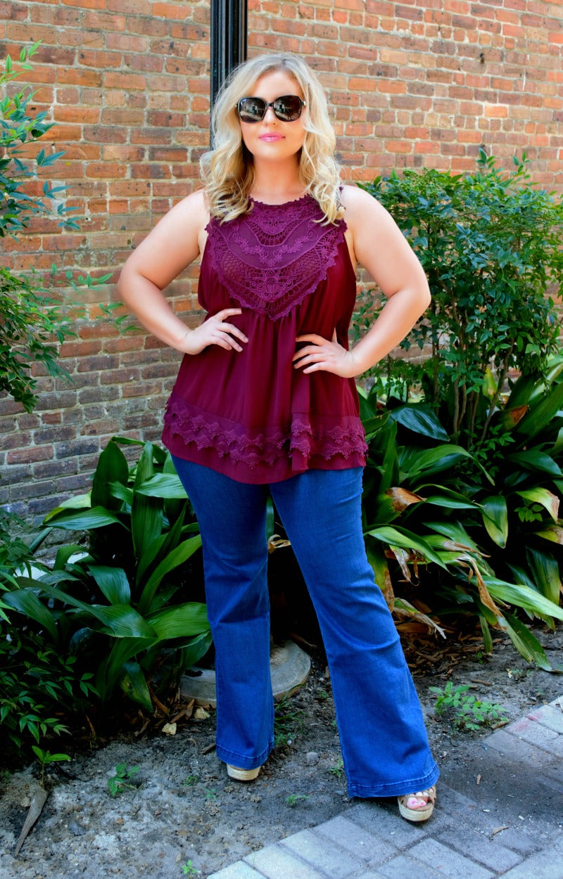 Step Right Up Lace Tank - Burgundy