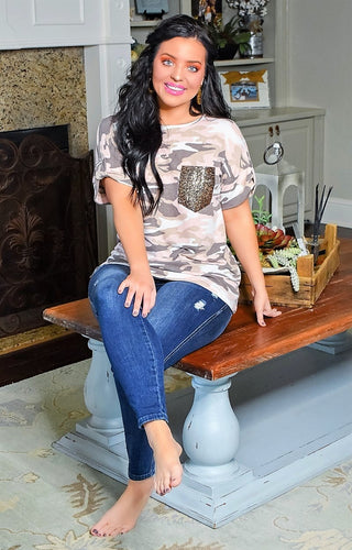 Far From Over Camo Print Top