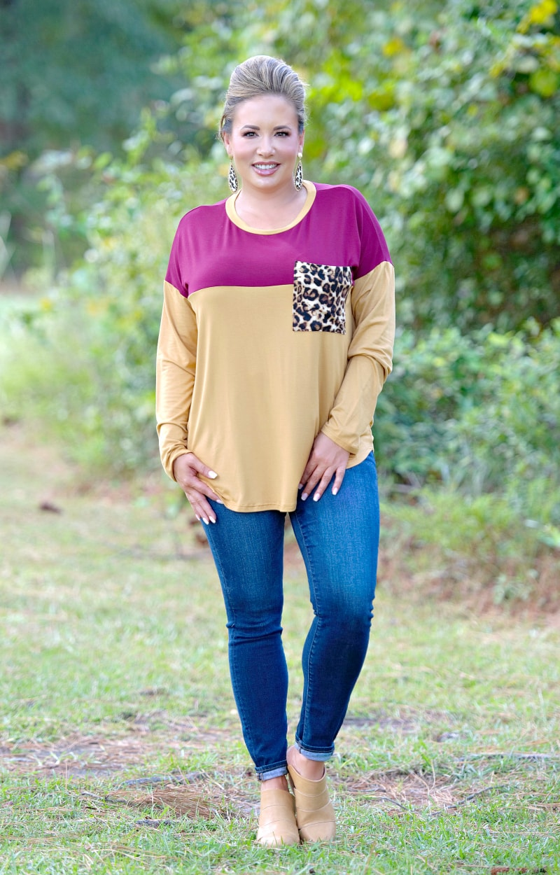 A Night Away Top - Burgundy/Mustard