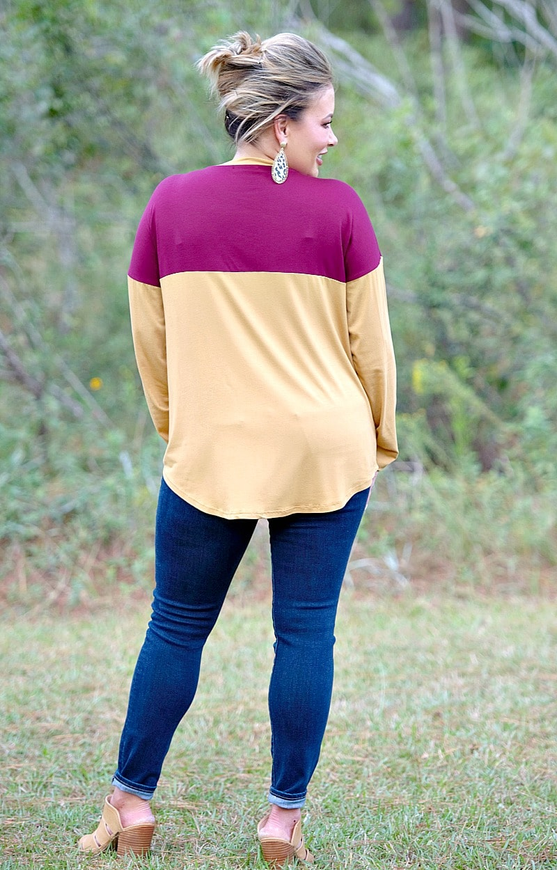 Load image into Gallery viewer, A Night Away Top - Burgundy/Mustard