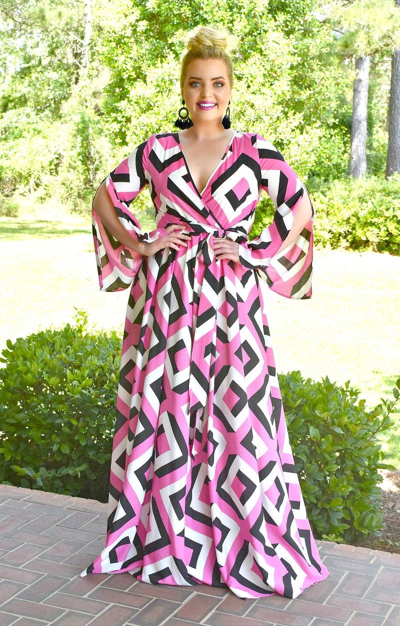 Load image into Gallery viewer, A Great Catch Print Maxi Dress - Fuchsia