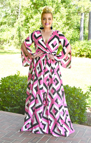 A Great Catch Print Maxi Dress - Fuchsia