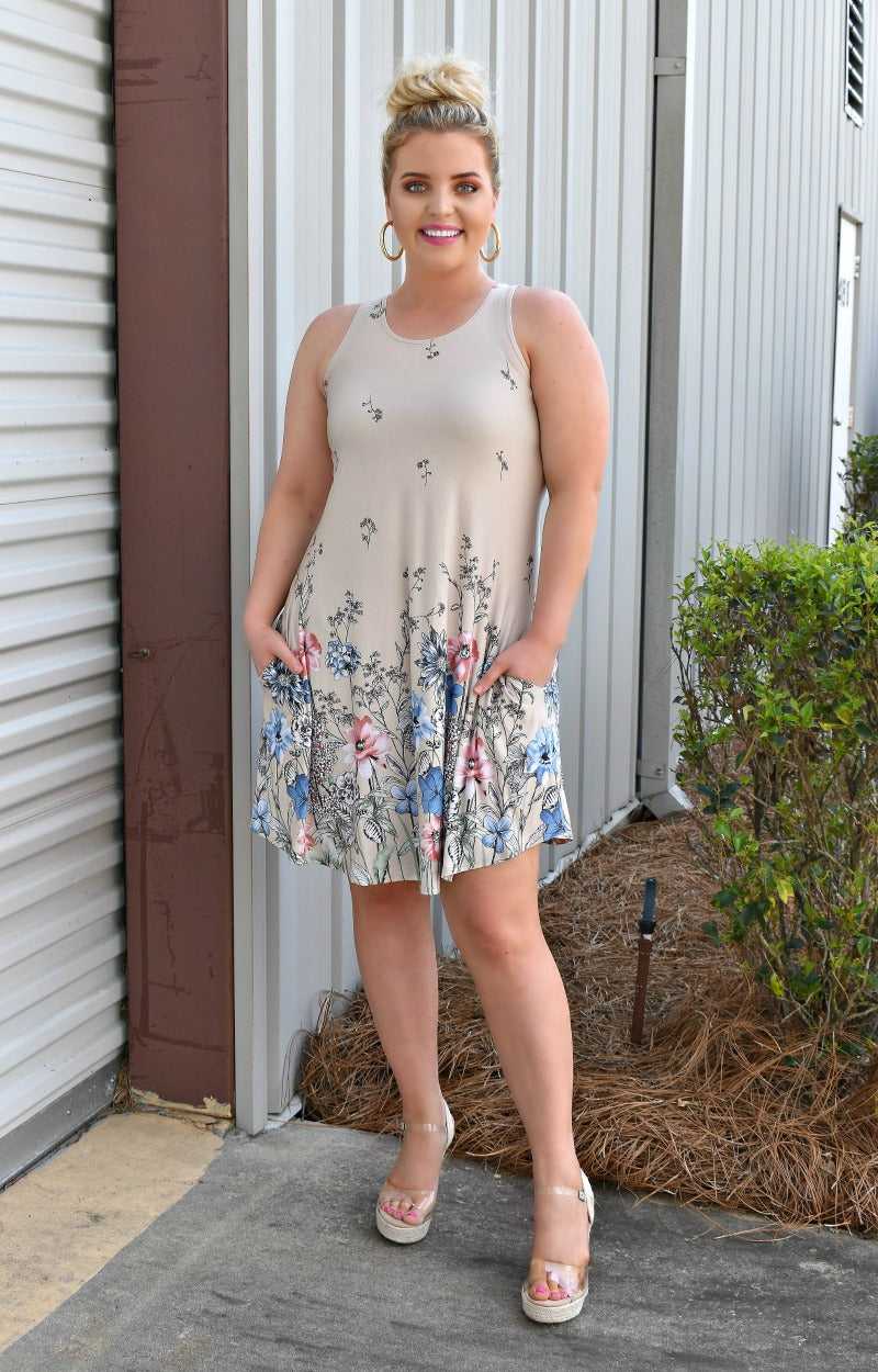 Load image into Gallery viewer, Whisk Me Away Floral Dress - Beige