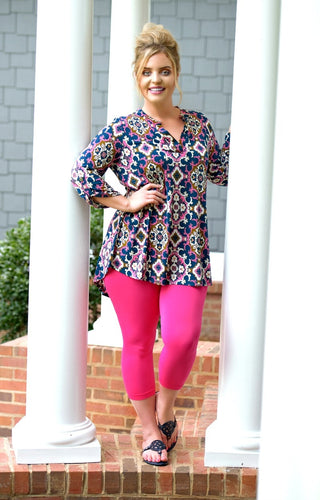 Wildly Entertaining Print Top - Teal/Fuchsia