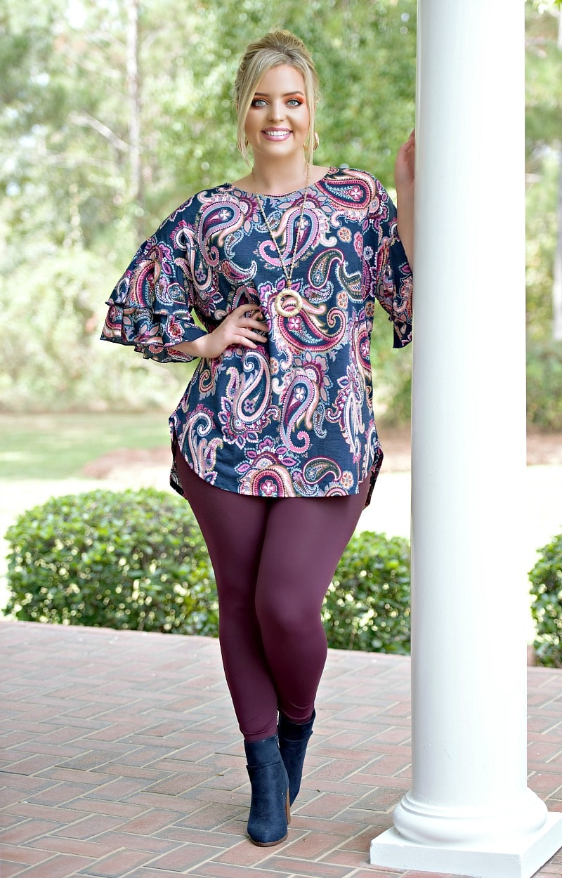 Doesn't Really Matter Print Top - Navy