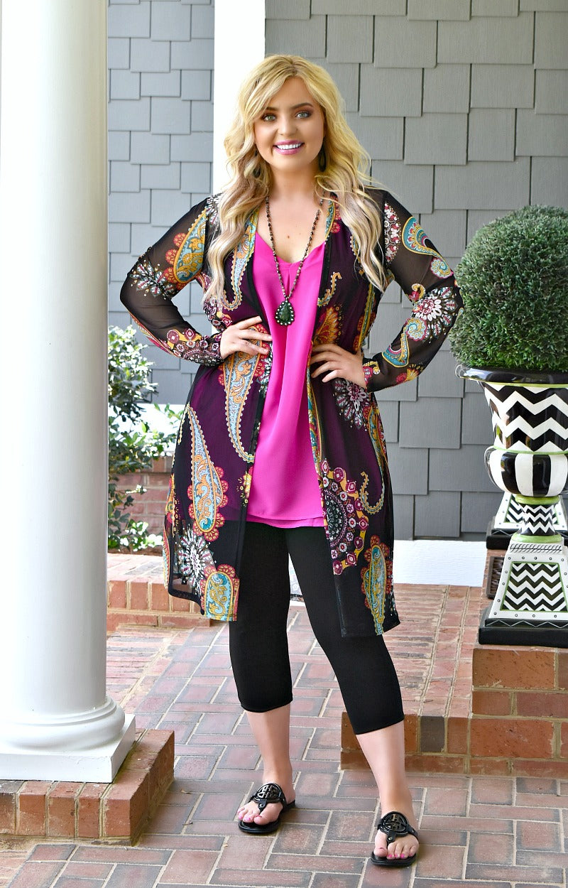 Load image into Gallery viewer, Running To You Print Kimono - Black/Multi