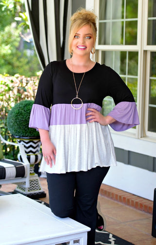 Let It Be Colorblock Top - Black/Lavender