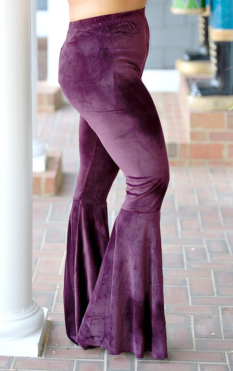 Flare It Out Velvet Pants - Plum