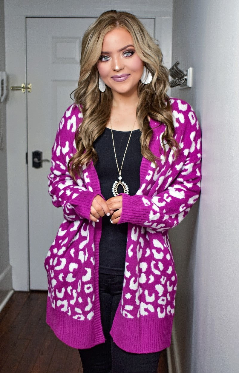 Load image into Gallery viewer, Stay Ahead Leopard Print Cardigan - Fuchsia