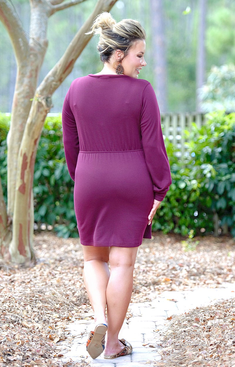 You're The One Wrap Dress - Burgundy