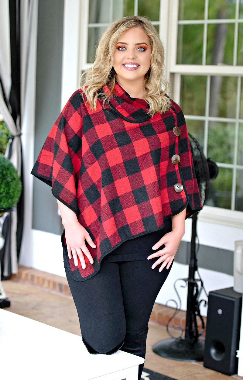 Load image into Gallery viewer, Cute & Cozy Buffalo Plaid Poncho - Black/Red