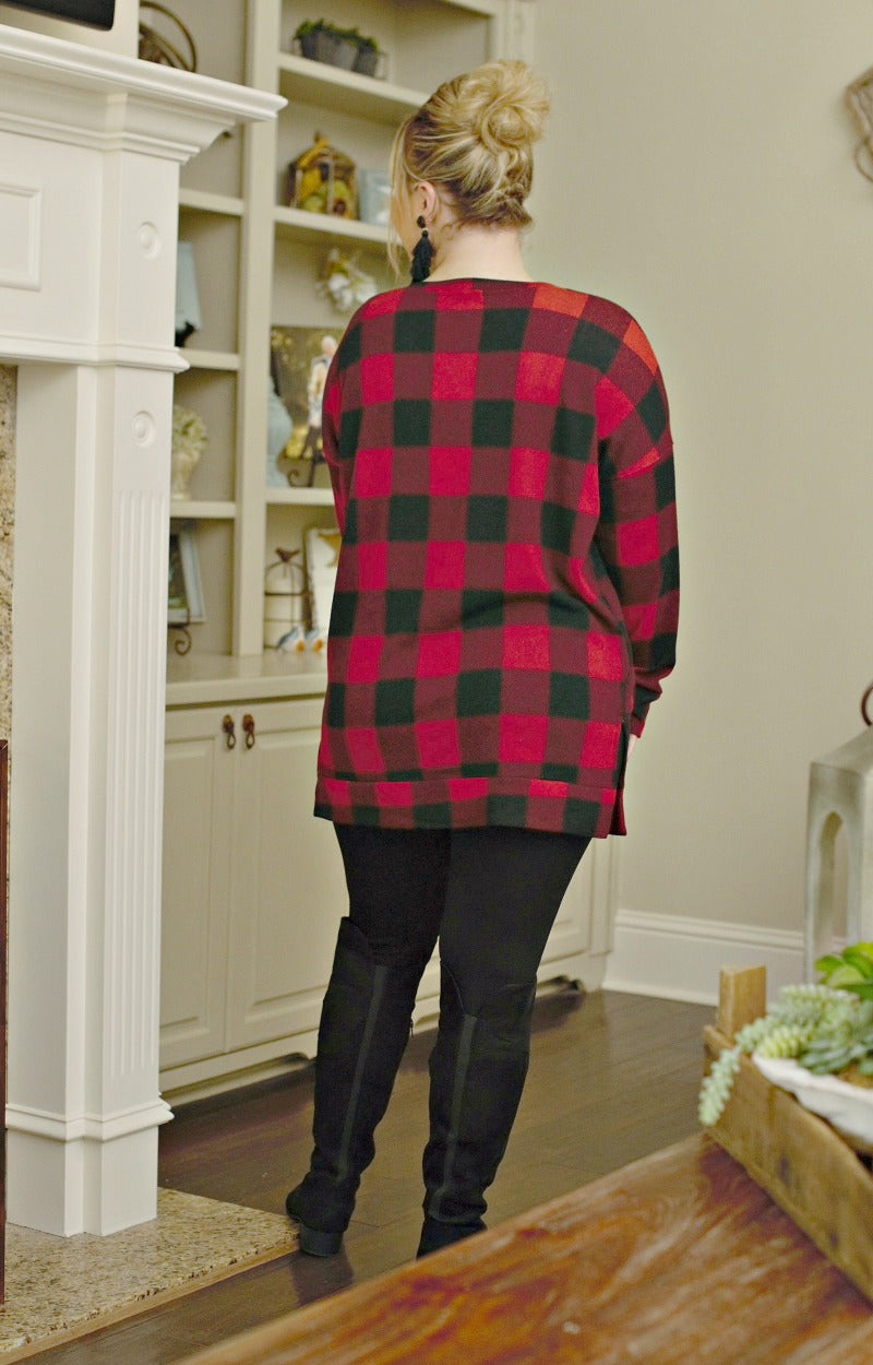 Always About It Buffalo Plaid Top - Black/Red