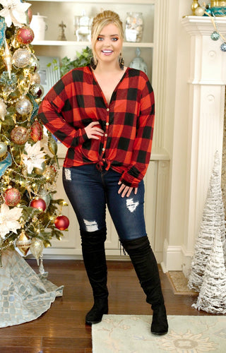 Beautiful Words Buffalo Plaid Top - Black/Red