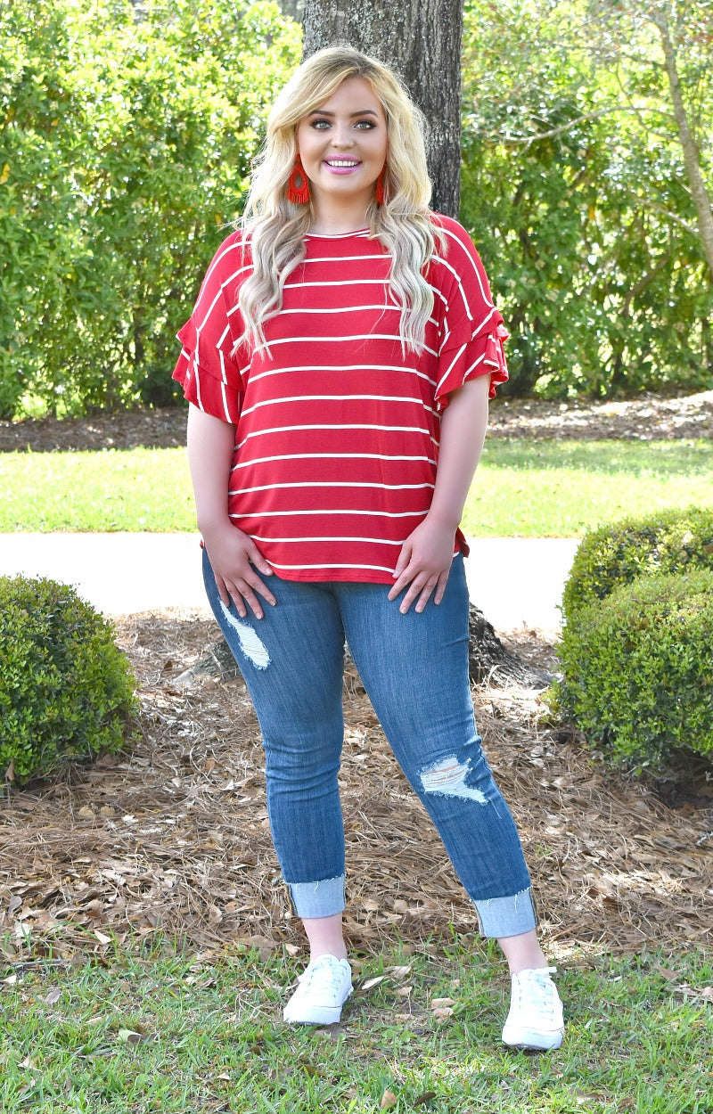 Just Feels Right Striped Top - Red