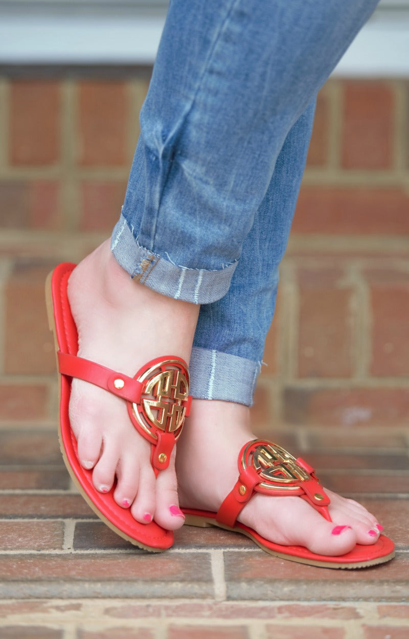 Minimal Effort Sandals - Red