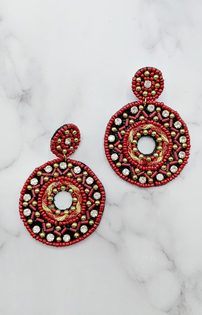 Load image into Gallery viewer, Way Back When Earrings - Red