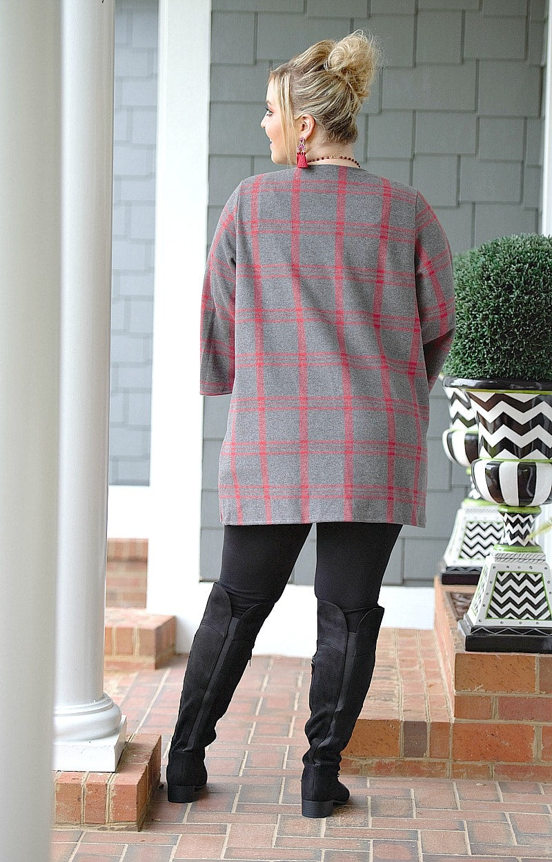Load image into Gallery viewer, Keep On Waiting Plaid Cardigan - Charcoal/Red