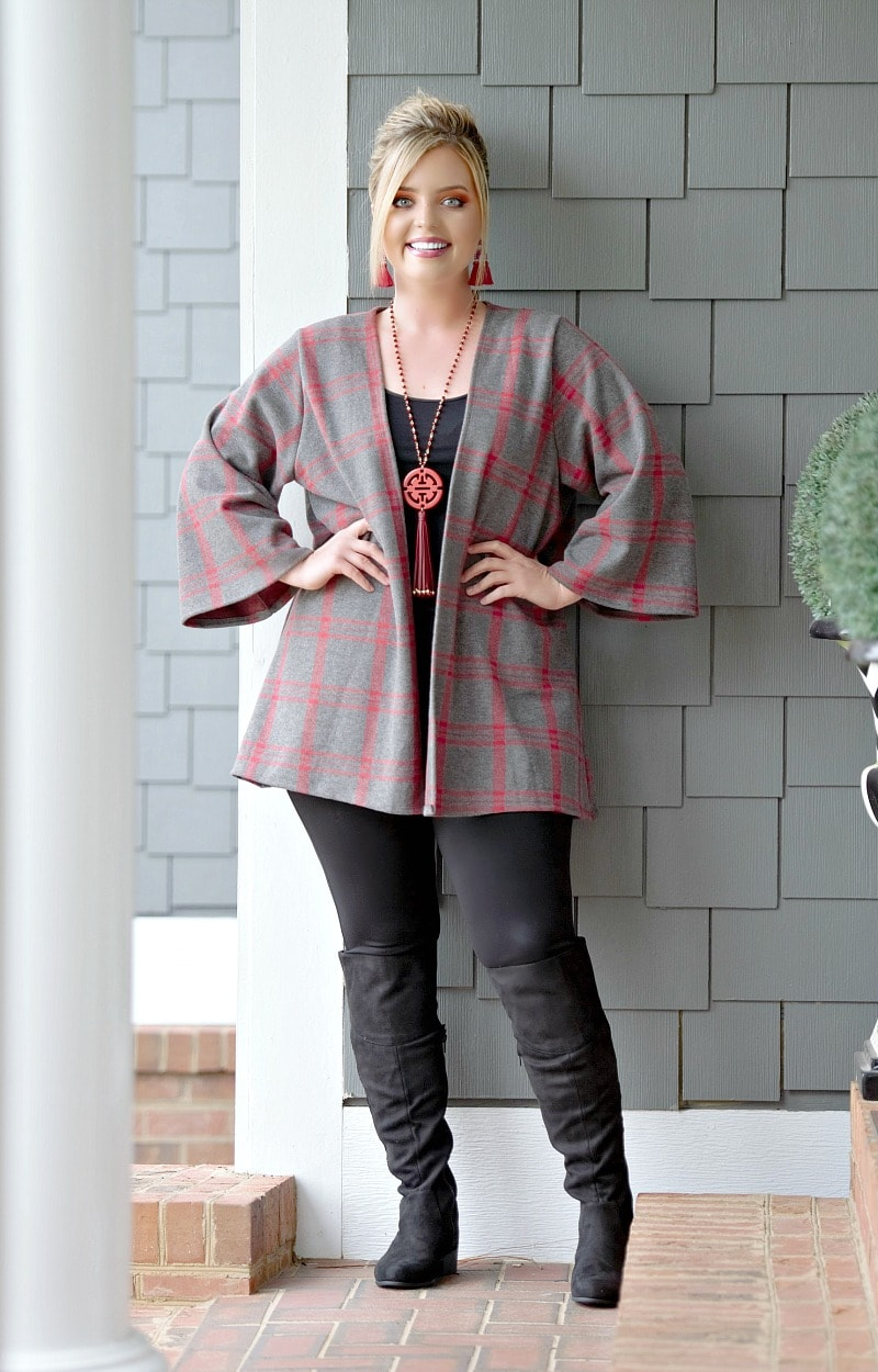 Keep On Waiting Plaid Cardigan - Charcoal/Red