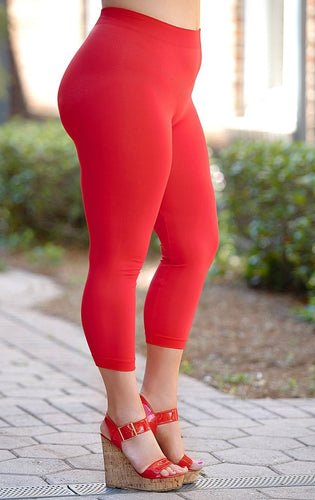 So Very Luxe Capri Leggings  -  Red