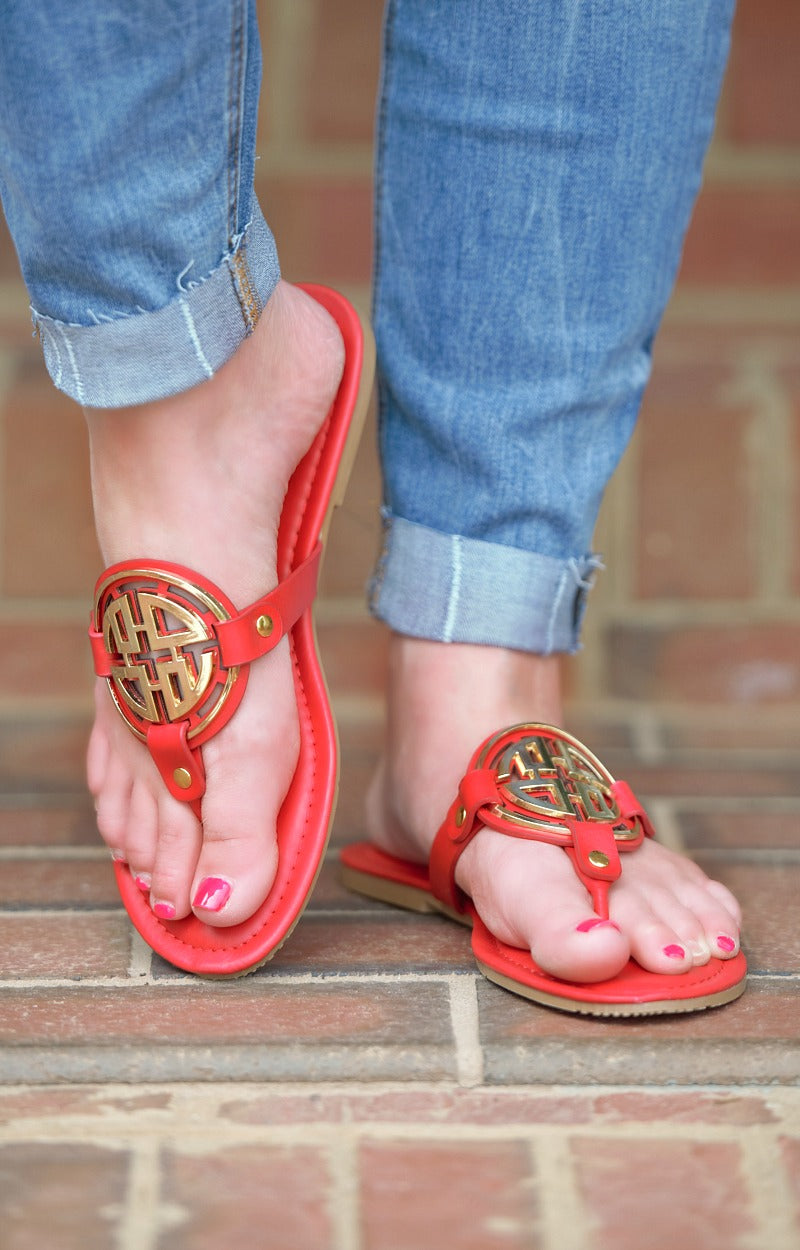 Load image into Gallery viewer, Minimal Effort Sandals - Red