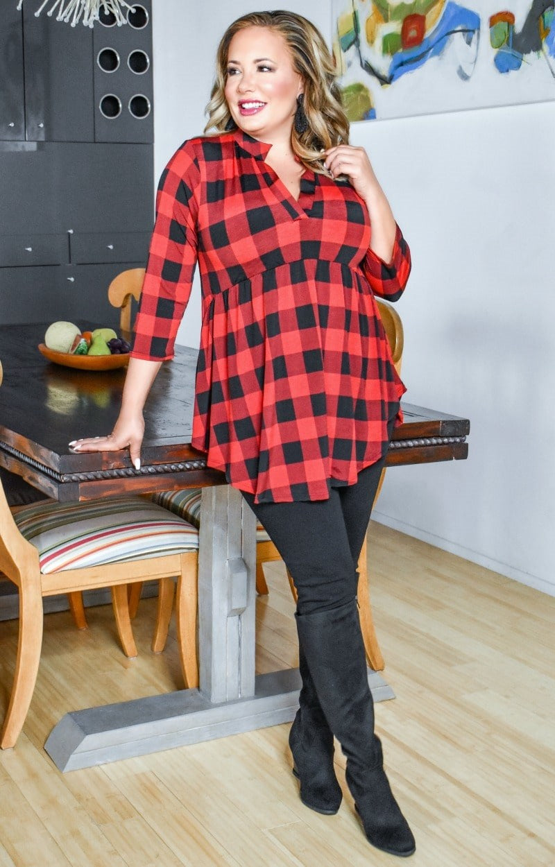 Too Much To Handle Plaid Top - Red/Black