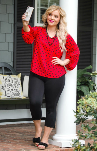 Then And Now Print Top - Red