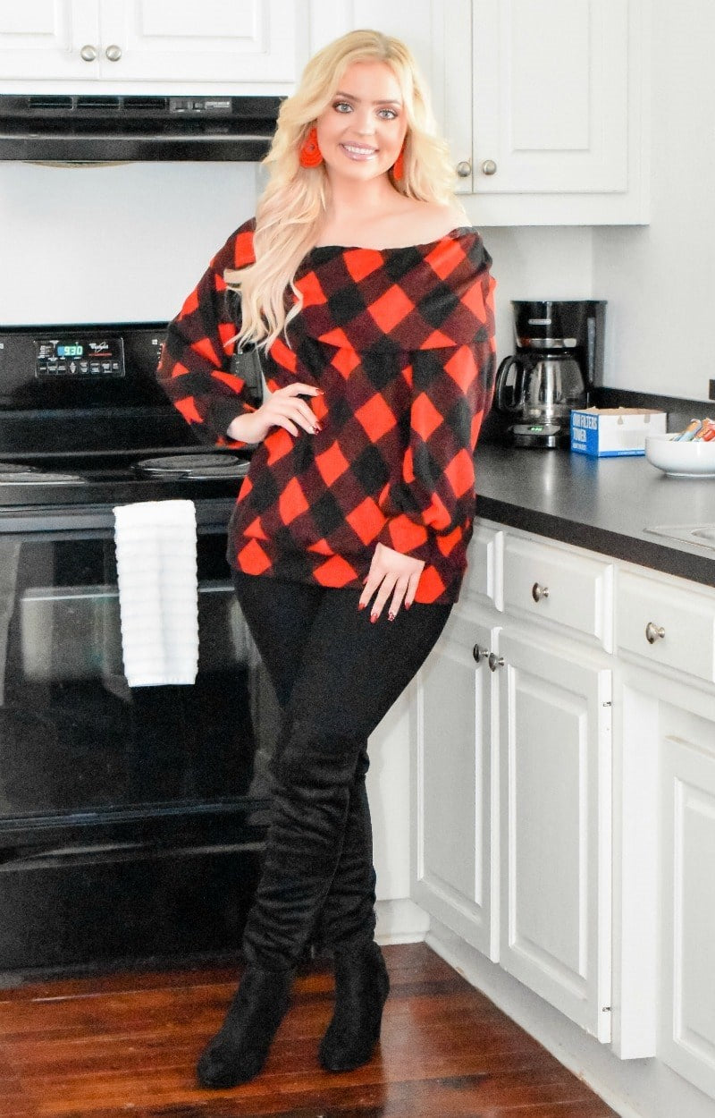 Load image into Gallery viewer, My Next Move Plaid Top - Red/Black