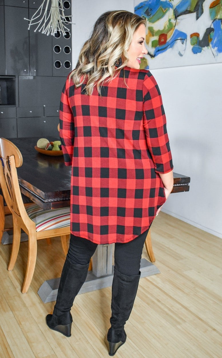 Load image into Gallery viewer, Too Much To Handle Plaid Top - Red/Black