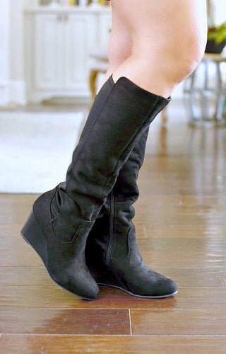 Remember Me Wedge Boots - Black